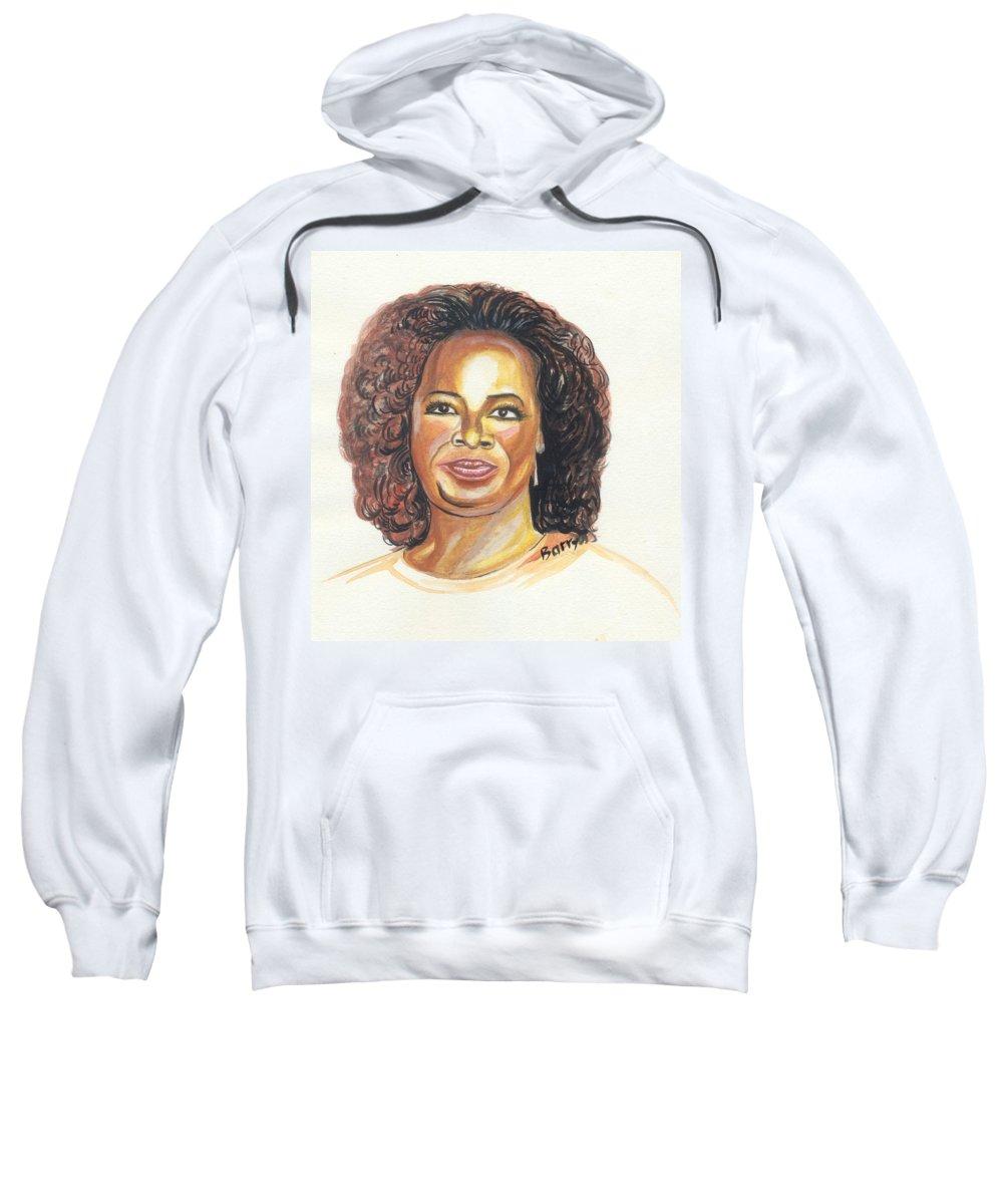 Actress Sweatshirt featuring the painting Oprah Winfrey by Emmanuel Baliyanga