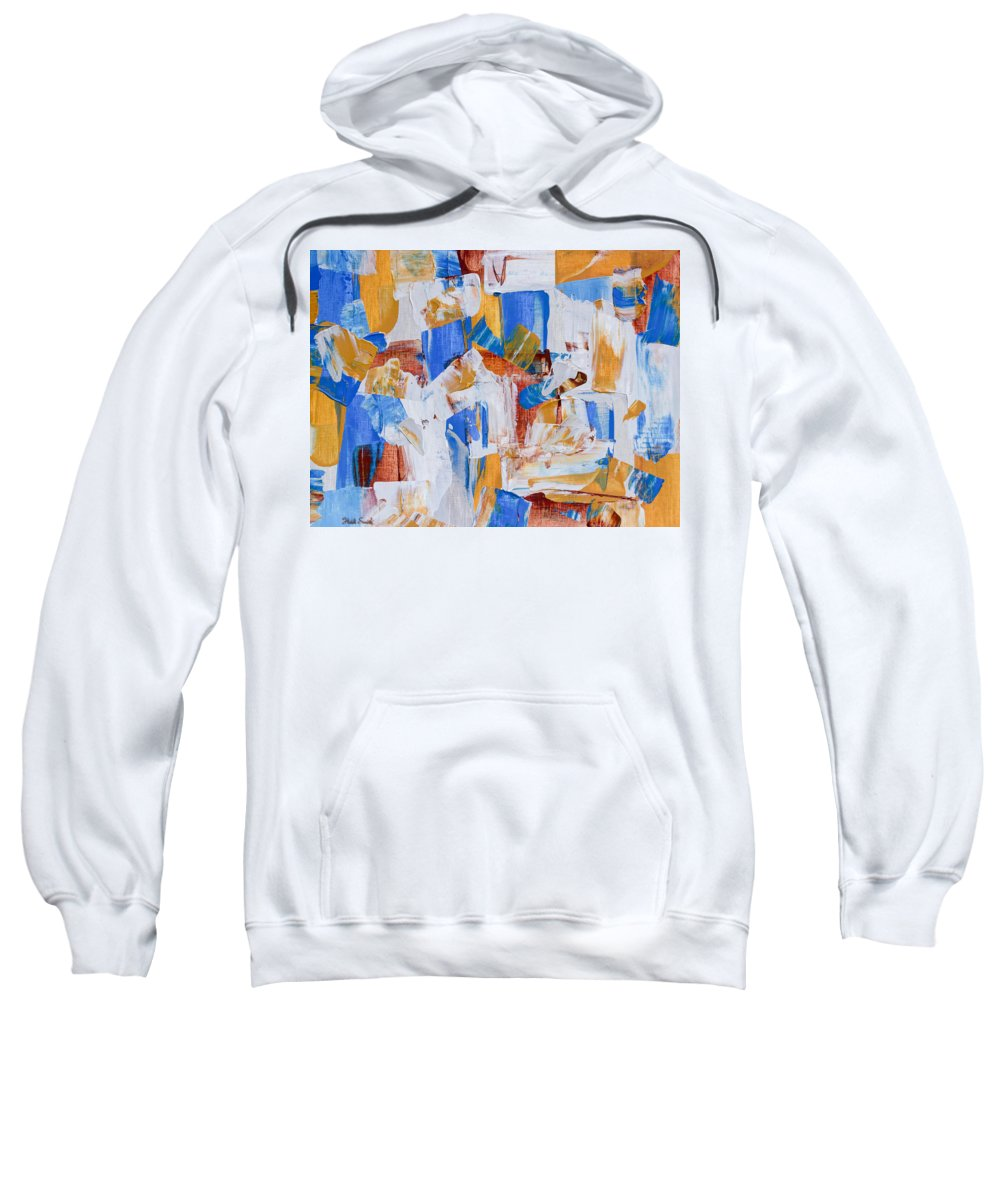 Background Sweatshirt featuring the painting Orange And Blue by Heidi Smith