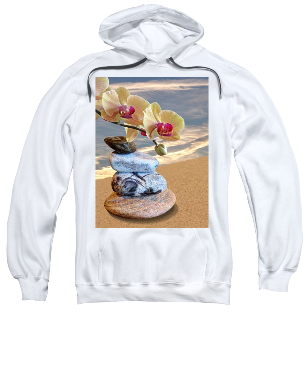 Pebbles Sweatshirt featuring the photograph Orchids And Pebbles On Sand by Gill Billington