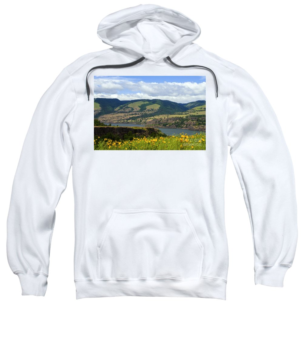 Oregon Flower Flowers Lake Lakes Mountain Mountains Tree Trees Cloud Clouds Water Field Fields Farmland Farmlands Farm Farms Landscape Landscapes Spring Sweatshirt featuring the photograph Oregon Landscape by Bob Phillips