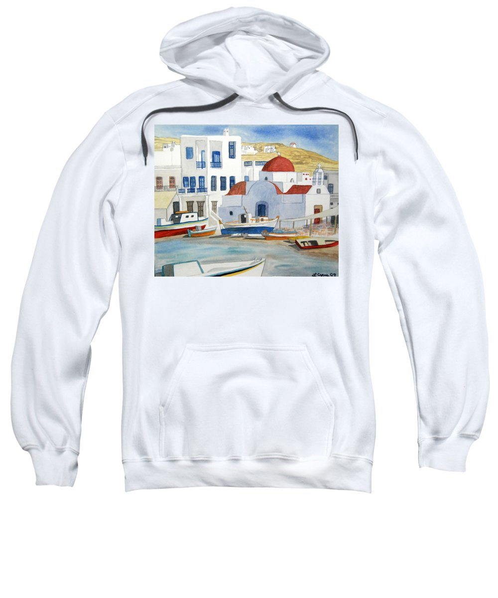 Mykonos Sweatshirt featuring the painting Watercolor - Mykonos Greece Detail by Cascade Colors
