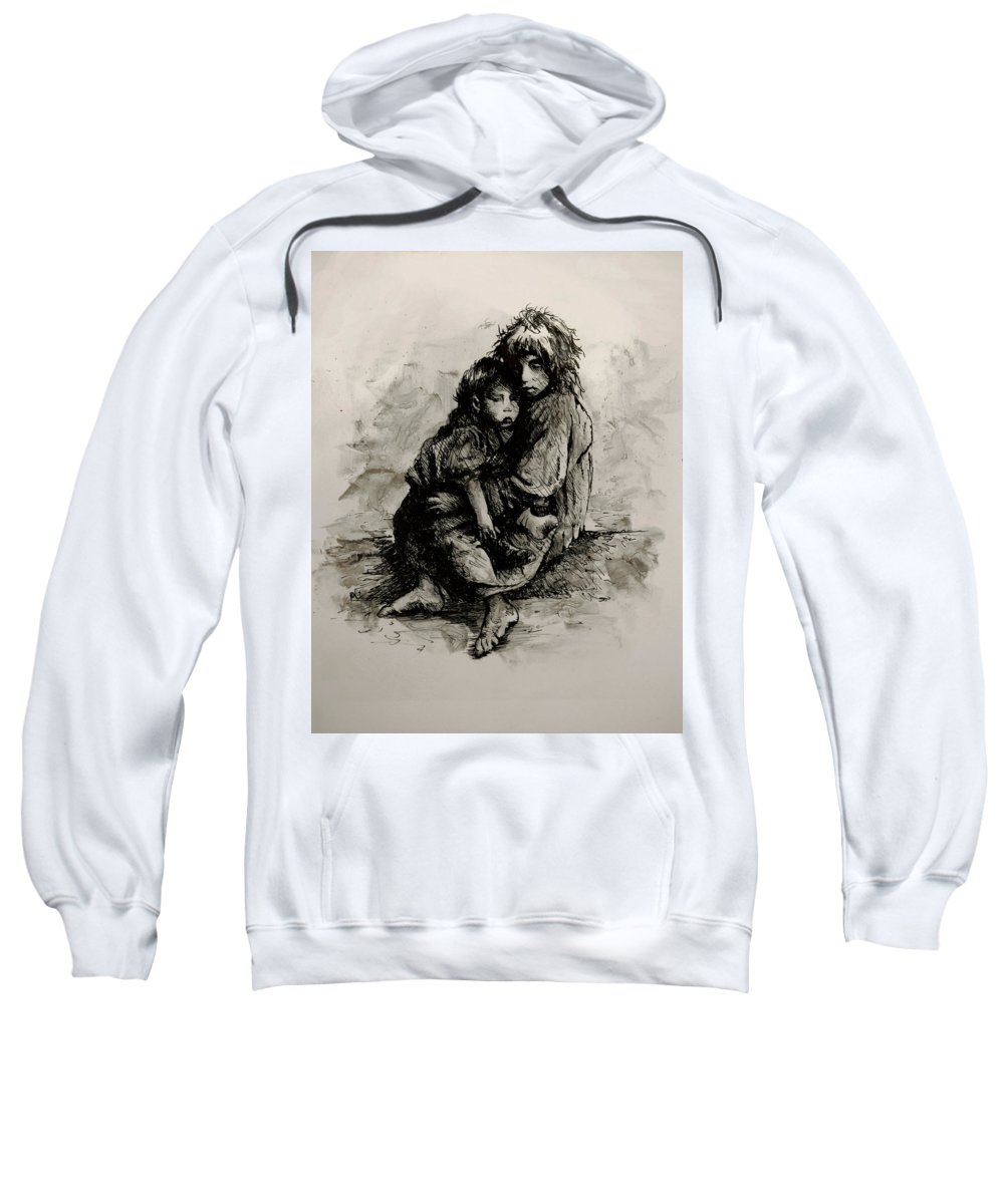 Human Figure Sweatshirt featuring the painting Orphans by Rachel Christine Nowicki