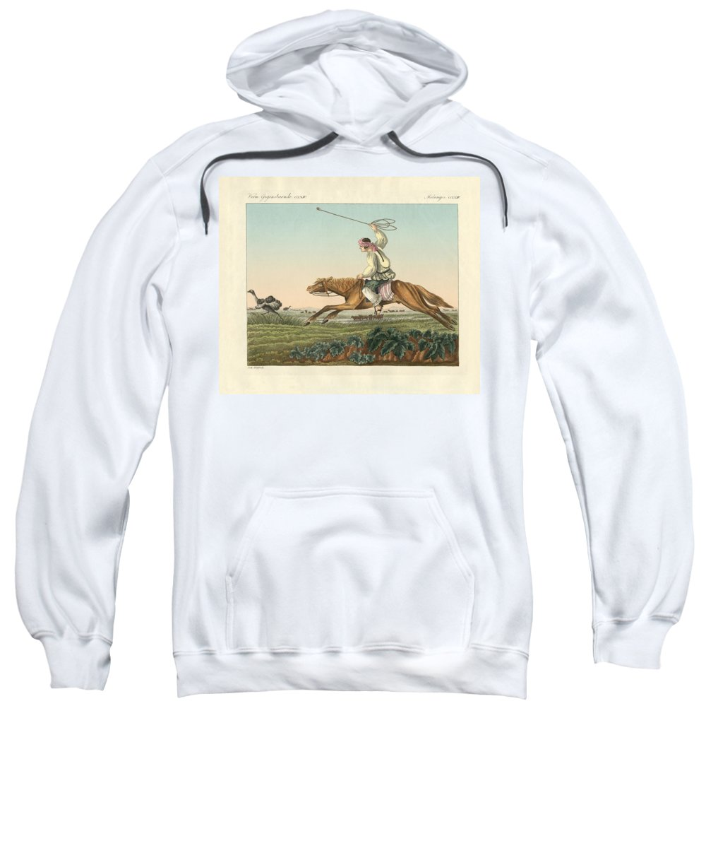 Bertuch Sweatshirt featuring the drawing Ostrich Hunting by Splendid Art Prints