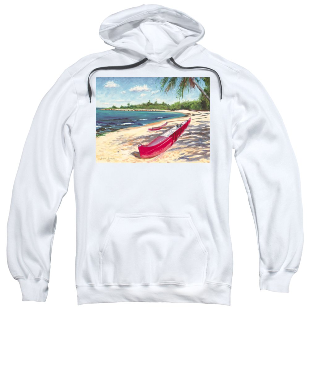 Outrigger Sweatshirt featuring the painting Outrigger - Haleiwa by Steve Simon