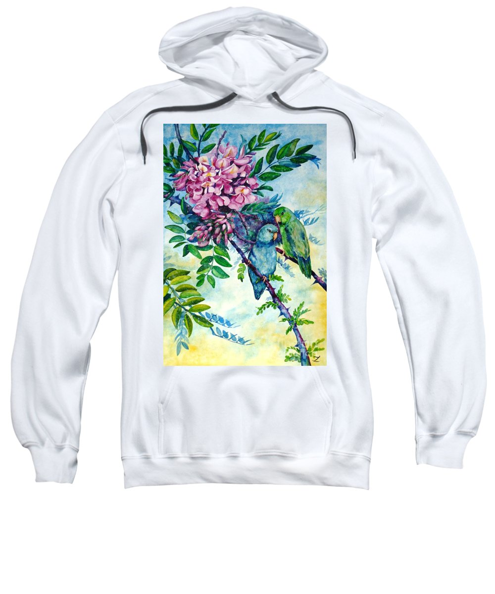 Pacific Parrotlets Sweatshirt featuring the painting Pacific Parrotlets by Zaira Dzhaubaeva