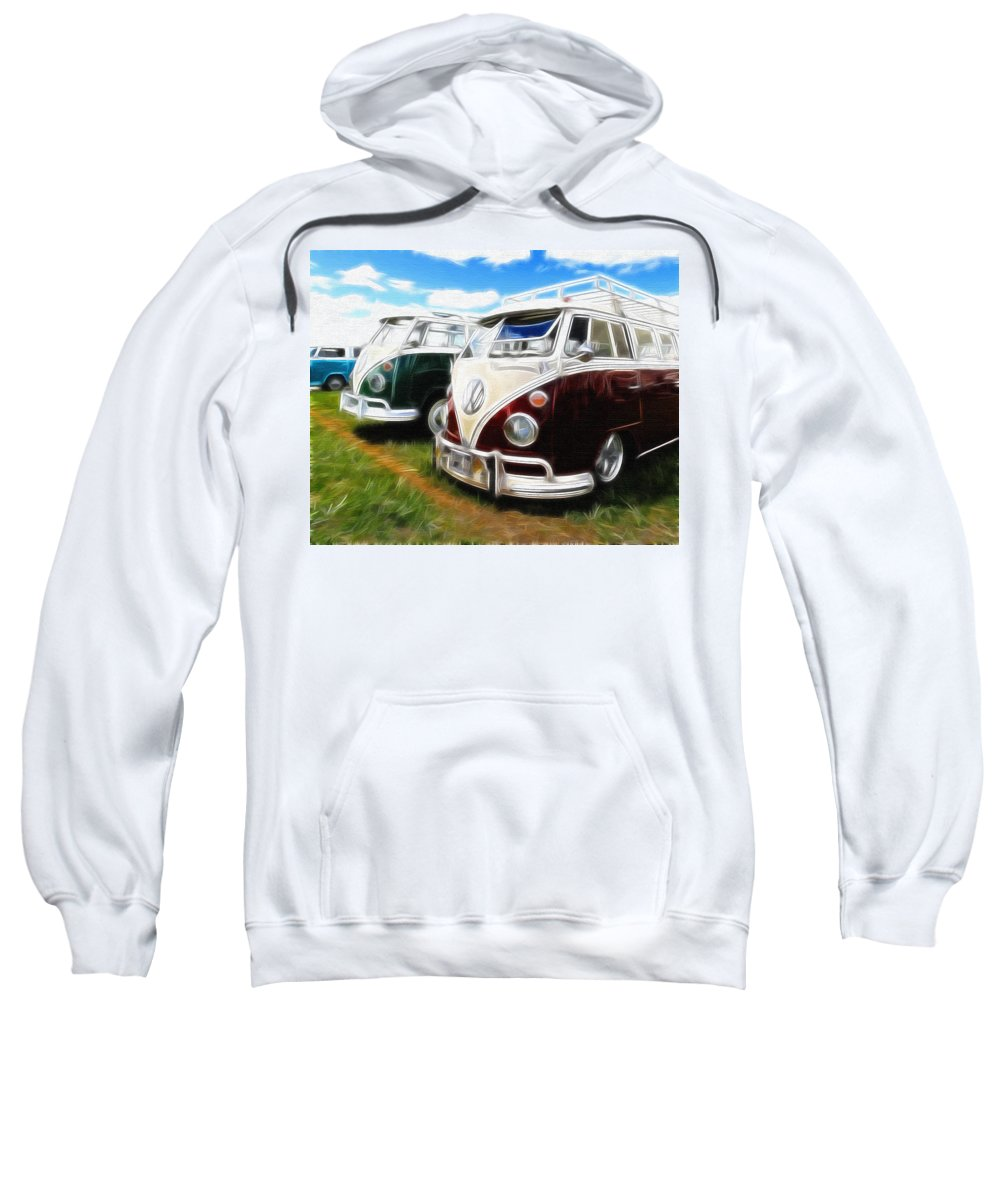 Vw Sweatshirt featuring the photograph Pair Of Busses by Steve McKinzie