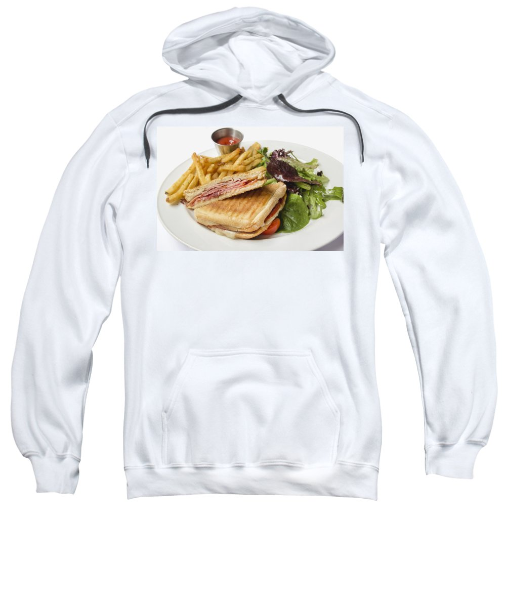 Panini Sweatshirt featuring the photograph Panini With Ham Melted Cheese French Fries And Salad by Jit Lim