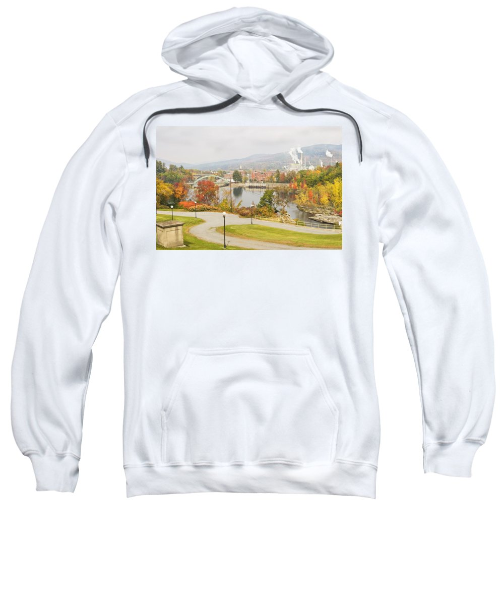 Rumford Maine Sweatshirt featuring the photograph Paper Mill And Fall Colors In Rumford Maine by Keith Webber Jr