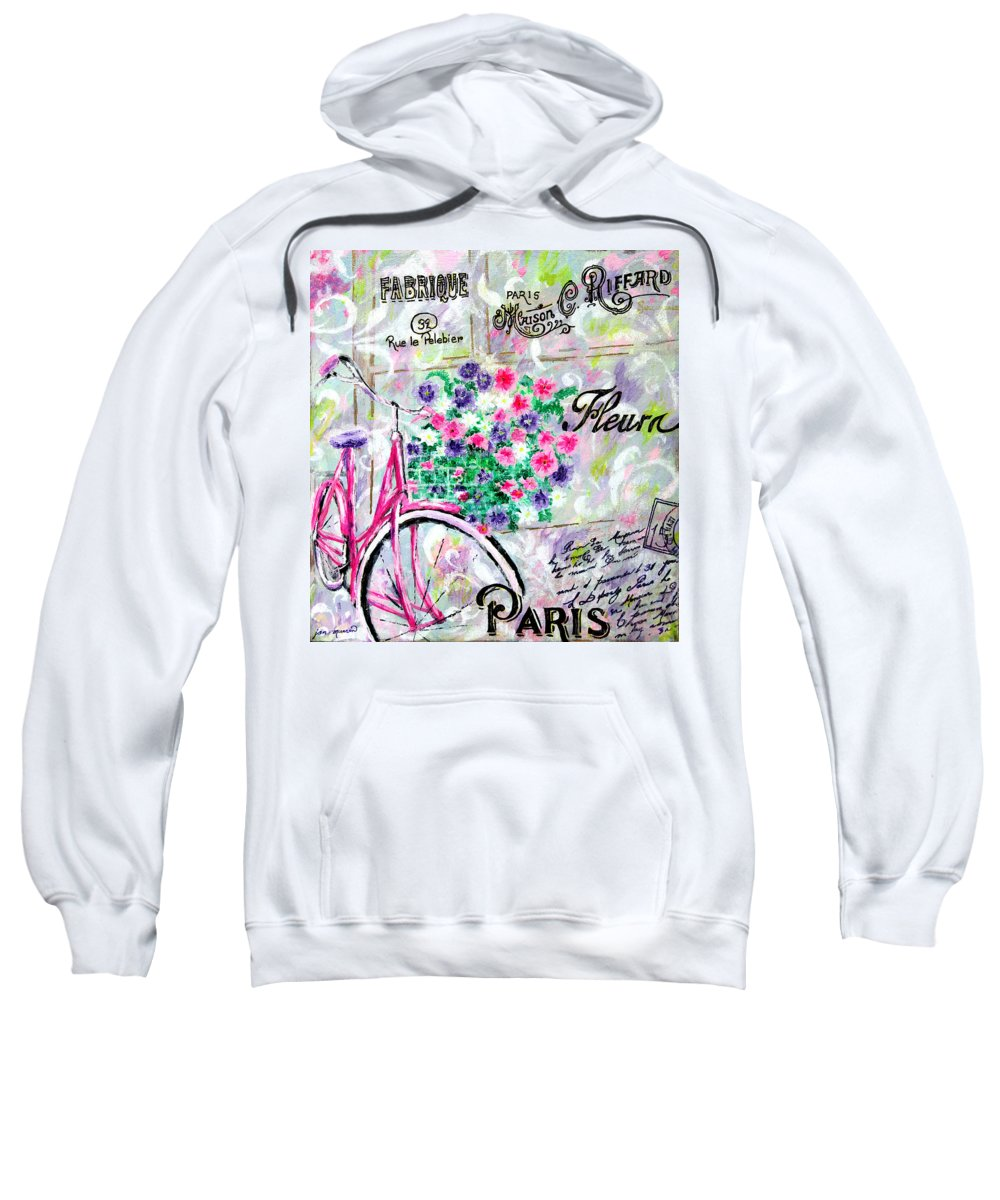 Bicycle Sweatshirt featuring the painting Paris By Jan Marvin by Jan Marvin