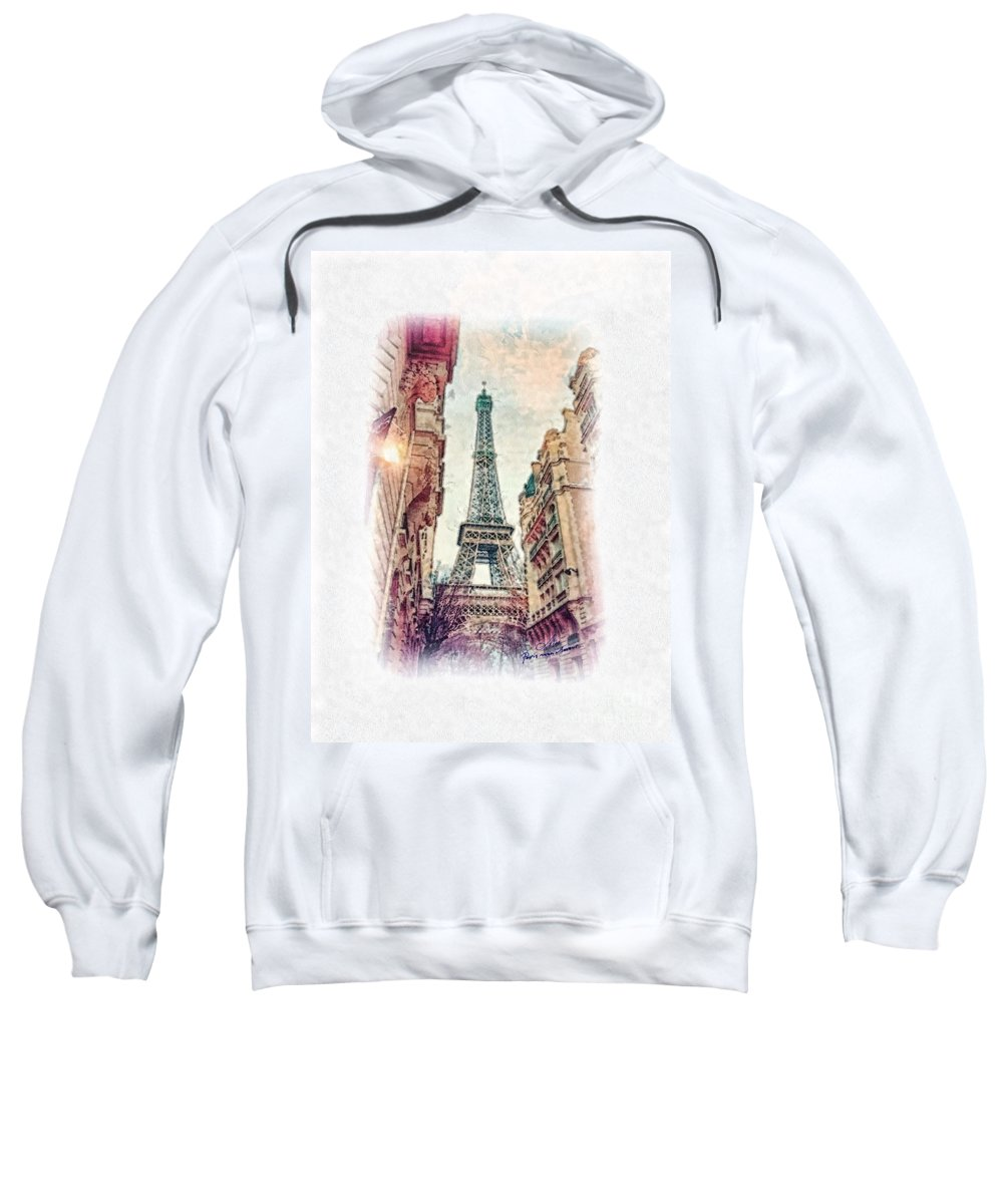 Paris Sweatshirt featuring the painting Paris Mon Amour by Mo T