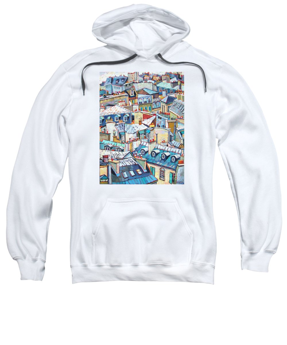 Cityscape Sweatshirt featuring the painting Paris Rooftops by Elizabeth Elkin