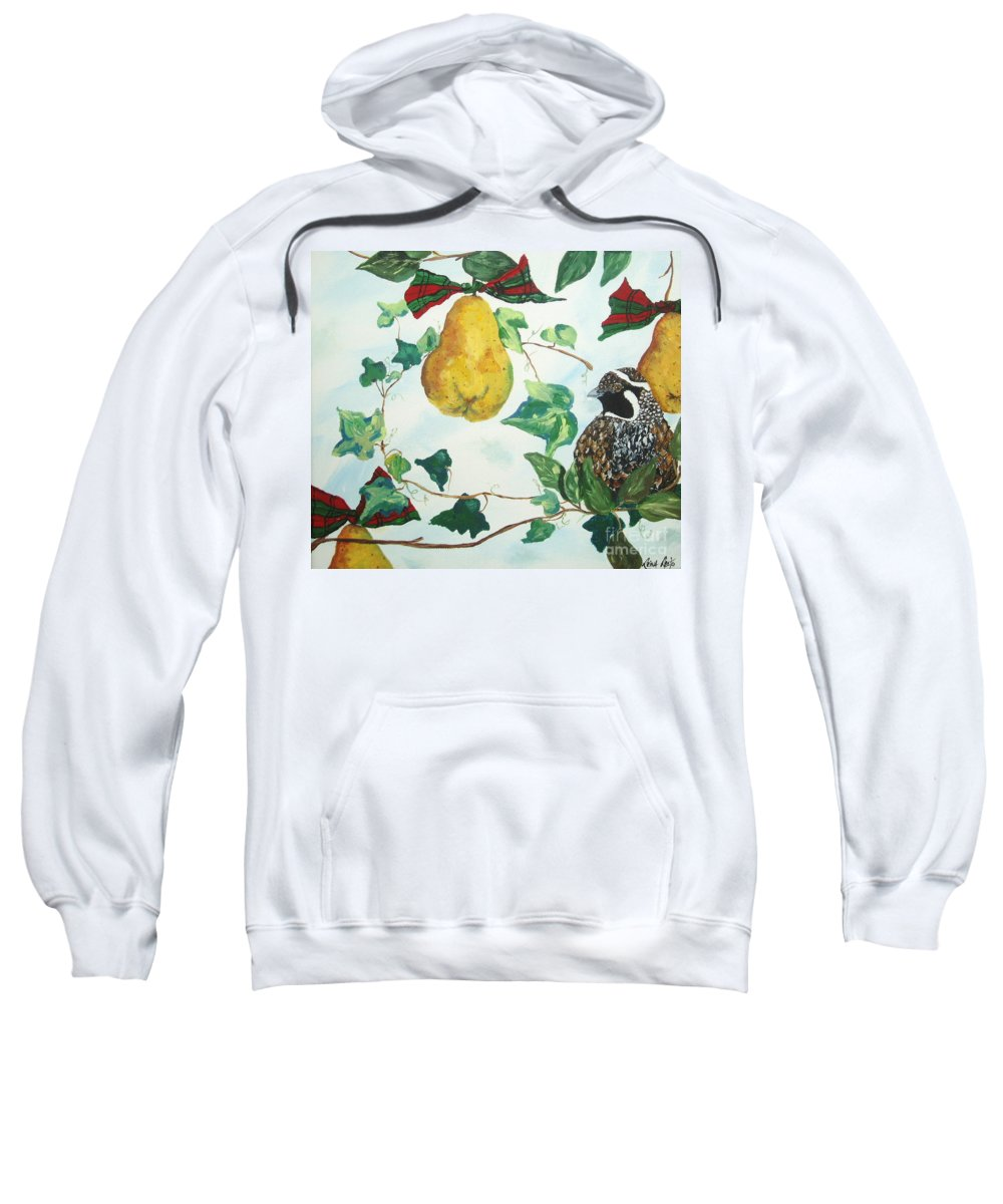 Tree Sweatshirt featuring the painting Partridge And Pears by Reina Resto