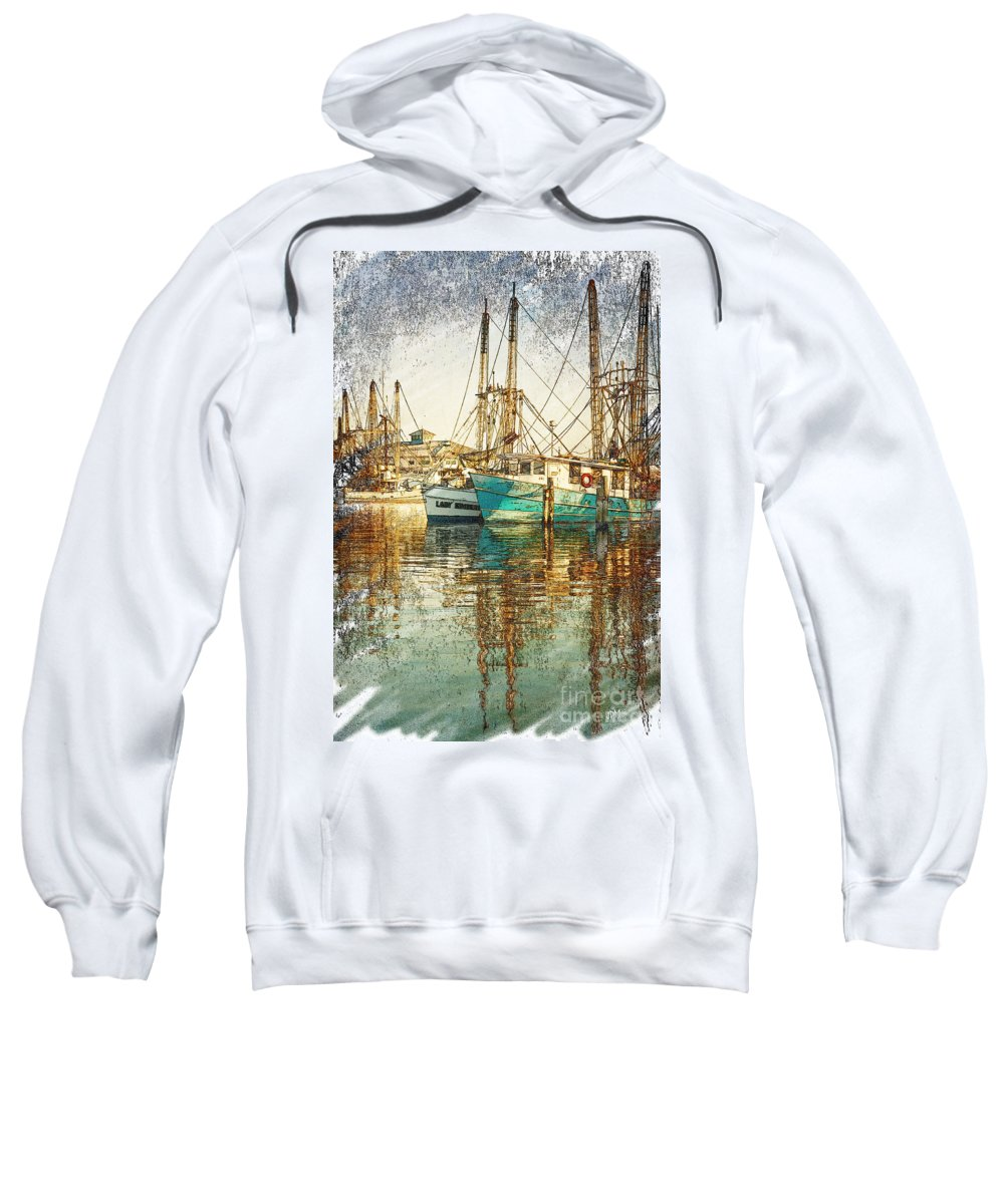 Sketch Sweatshirt featuring the photograph Pass Christian Harbor Sketch by Joan McCool