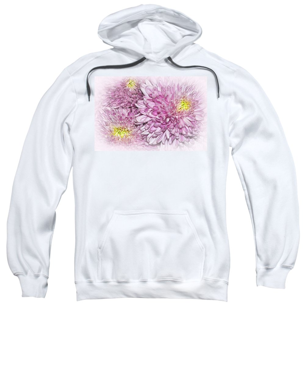Photography Sweatshirt featuring the photograph Pastel Pink Mums by Kaye Menner