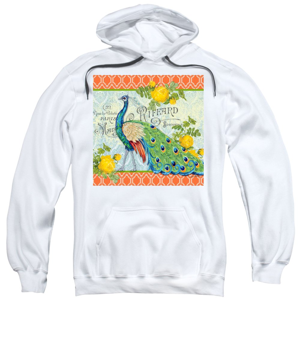 Acrylic Painting Sweatshirt featuring the painting Peacocks In The Rose Garden-3 by Jean Plout