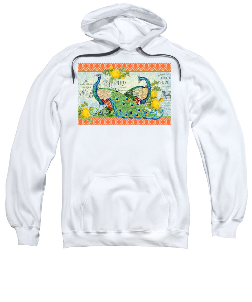 Acrylic Painting Sweatshirt featuring the painting Peacocks In The Rose Garden by Jean Plout