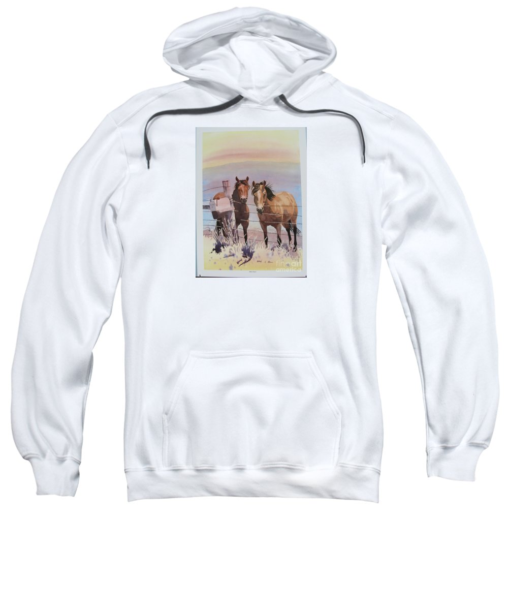 Horses Landscape Sweatshirt featuring the painting Pen Pals by Cathy Sky