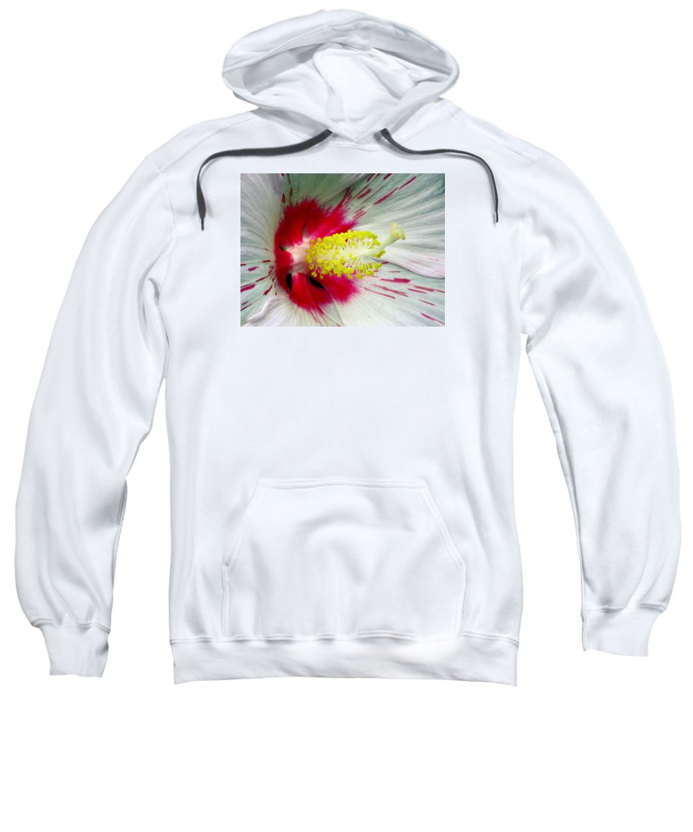 Hibiscus Sweatshirt featuring the photograph Peppermint Flame 01a by Pamela Critchlow