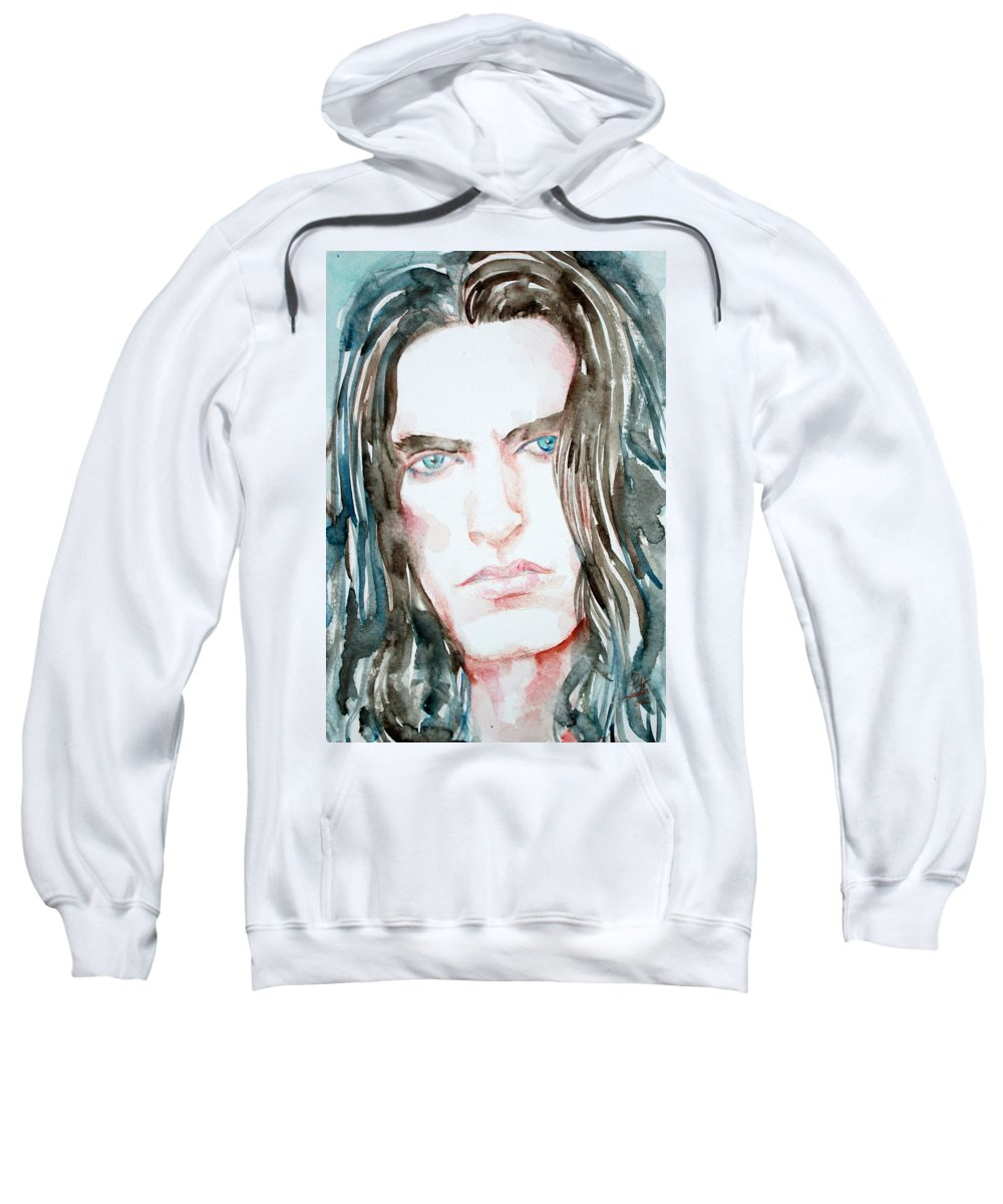 Peter Sweatshirt featuring the painting Peter Steele Watercolor Portrait by Fabrizio Cassetta