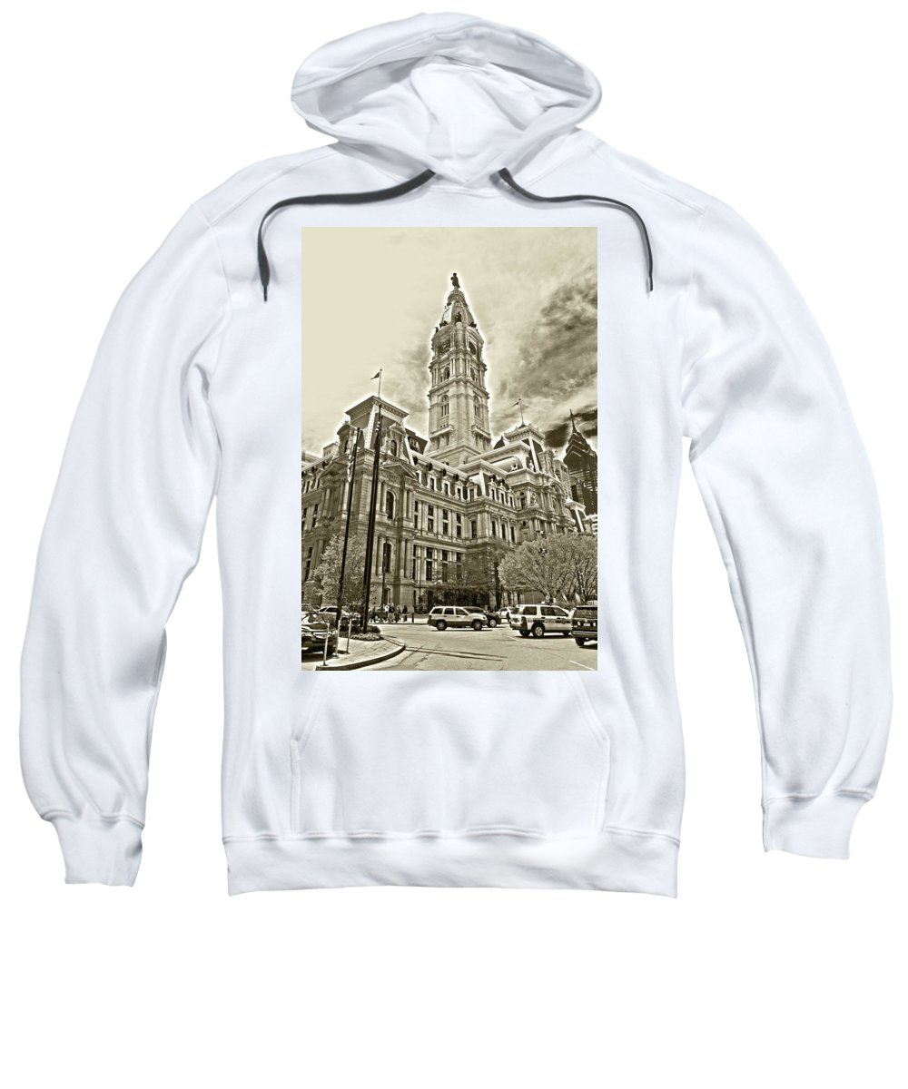 Philadelphia Sweatshirt featuring the photograph Philadelphia City Hall - Bw by Lou Ford
