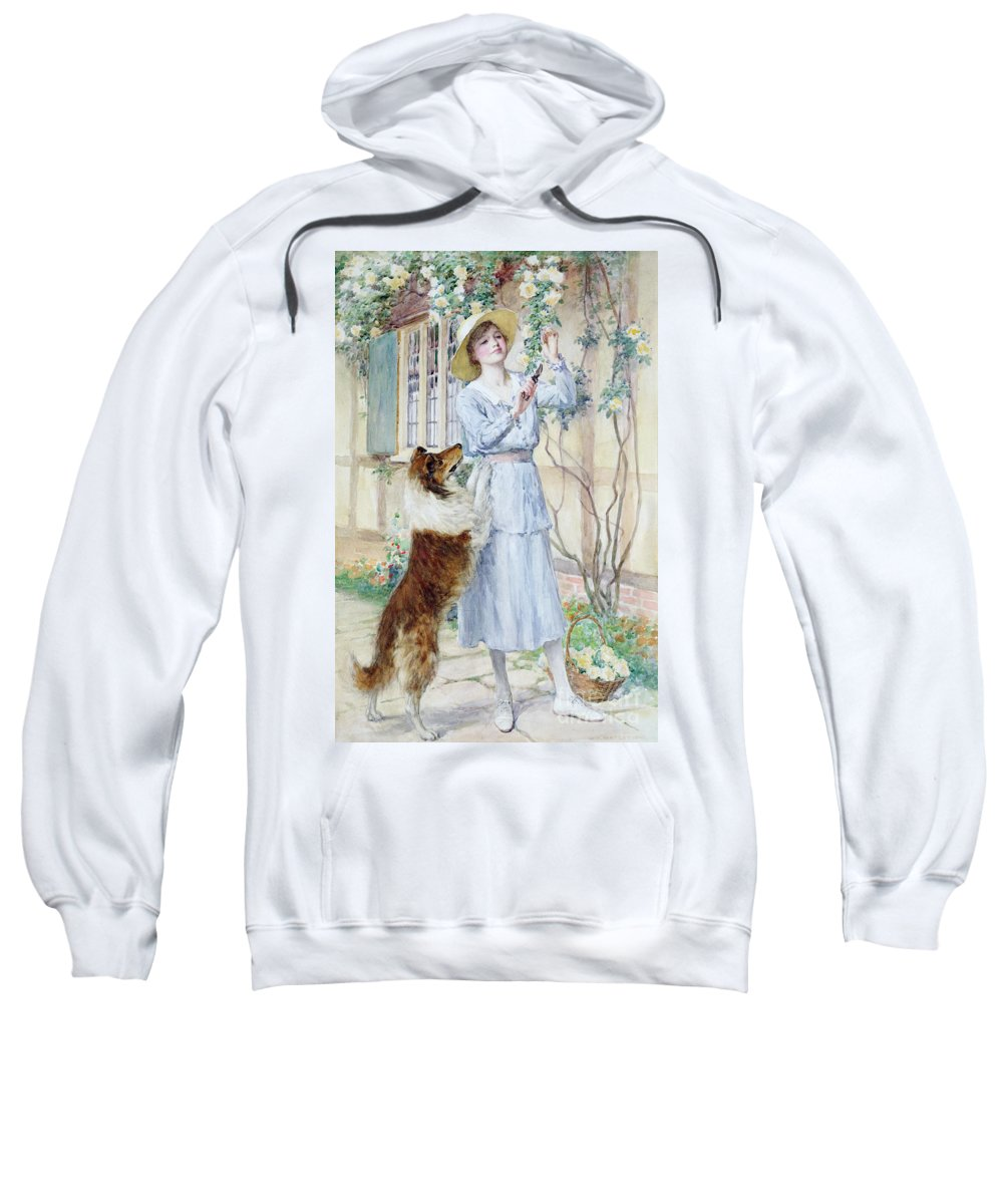 Rose Sweatshirt featuring the painting Picking Roses by William Henry Margetson