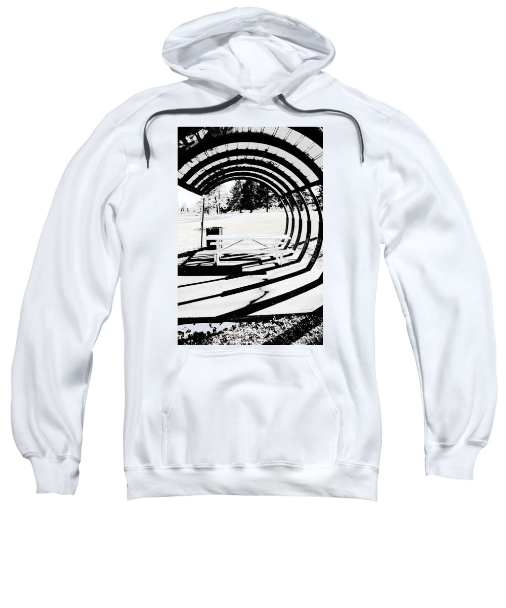 Park Bench Sweatshirt featuring the photograph Picnic Table And Gazebo by Ric Bascobert