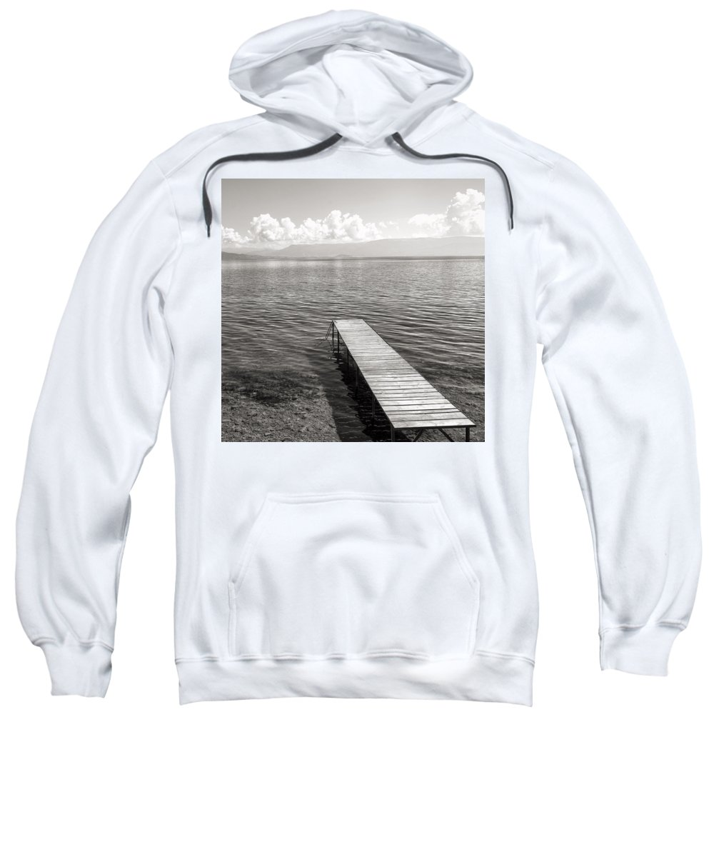Lake Ohrid Sweatshirt featuring the photograph Pier At Lake Ohrid by For Ninety One Days