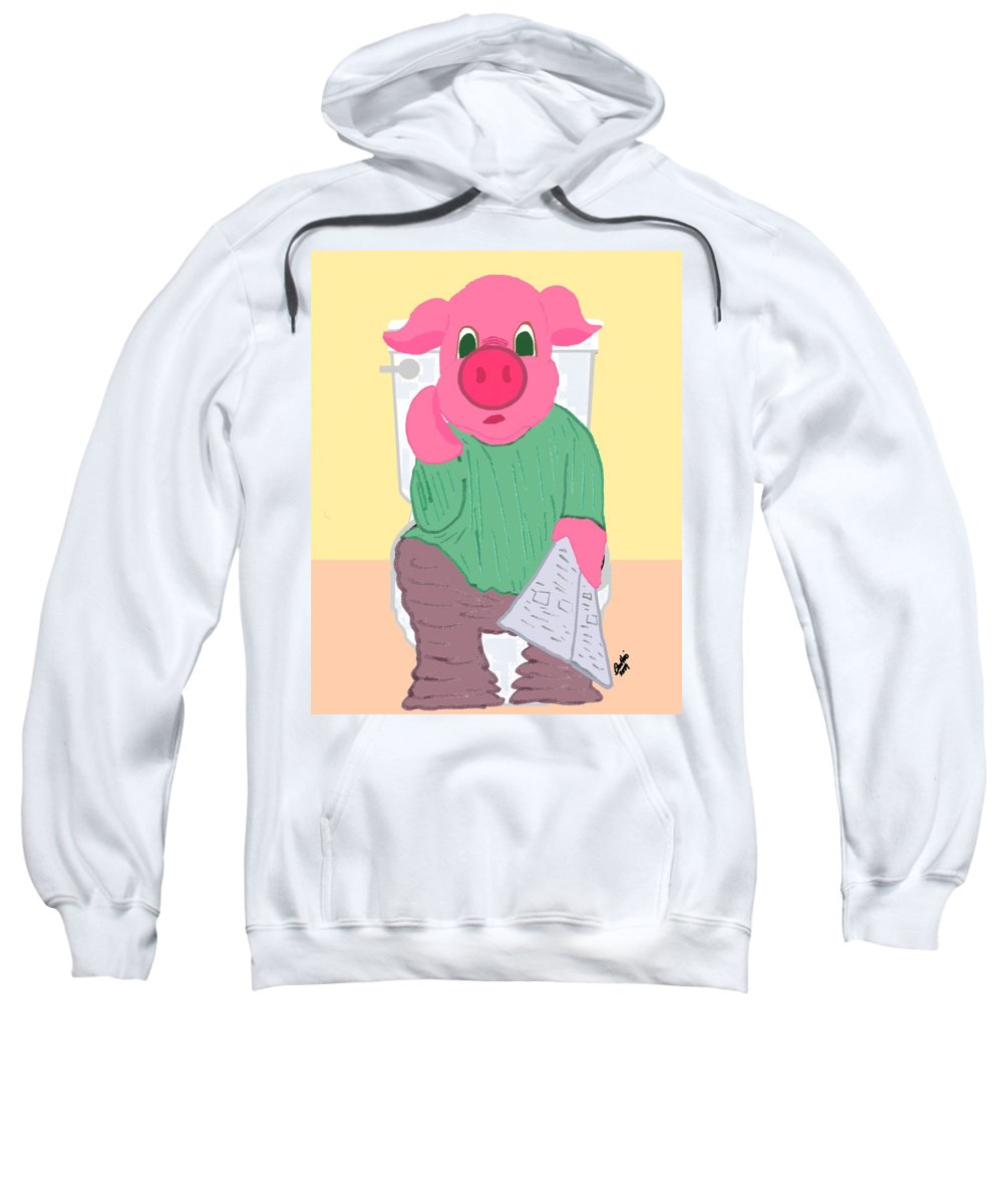 Pig Sweatshirt featuring the drawing Pig On The Hopper by Pharris Art
