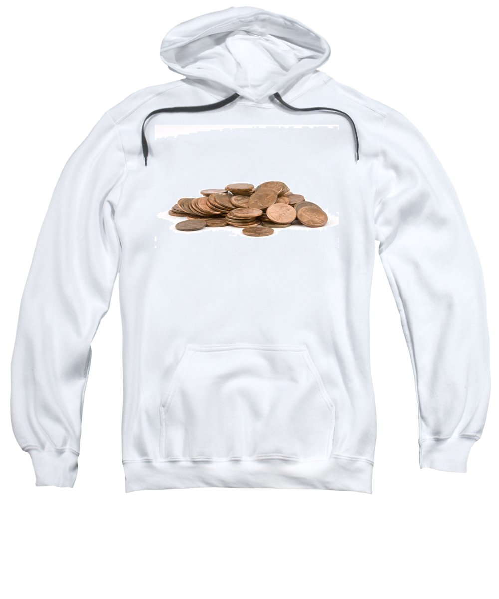 American Currancy Sweatshirt featuring the photograph Pile Of American Pennies On White Background by Keith Webber Jr