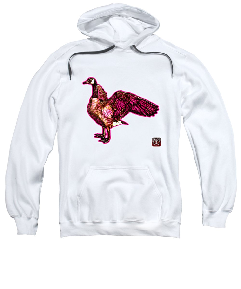 Canada Goose Sweatshirt featuring the mixed media Pink Canada Goose Pop Art - 7585 - Wb by James Ahn