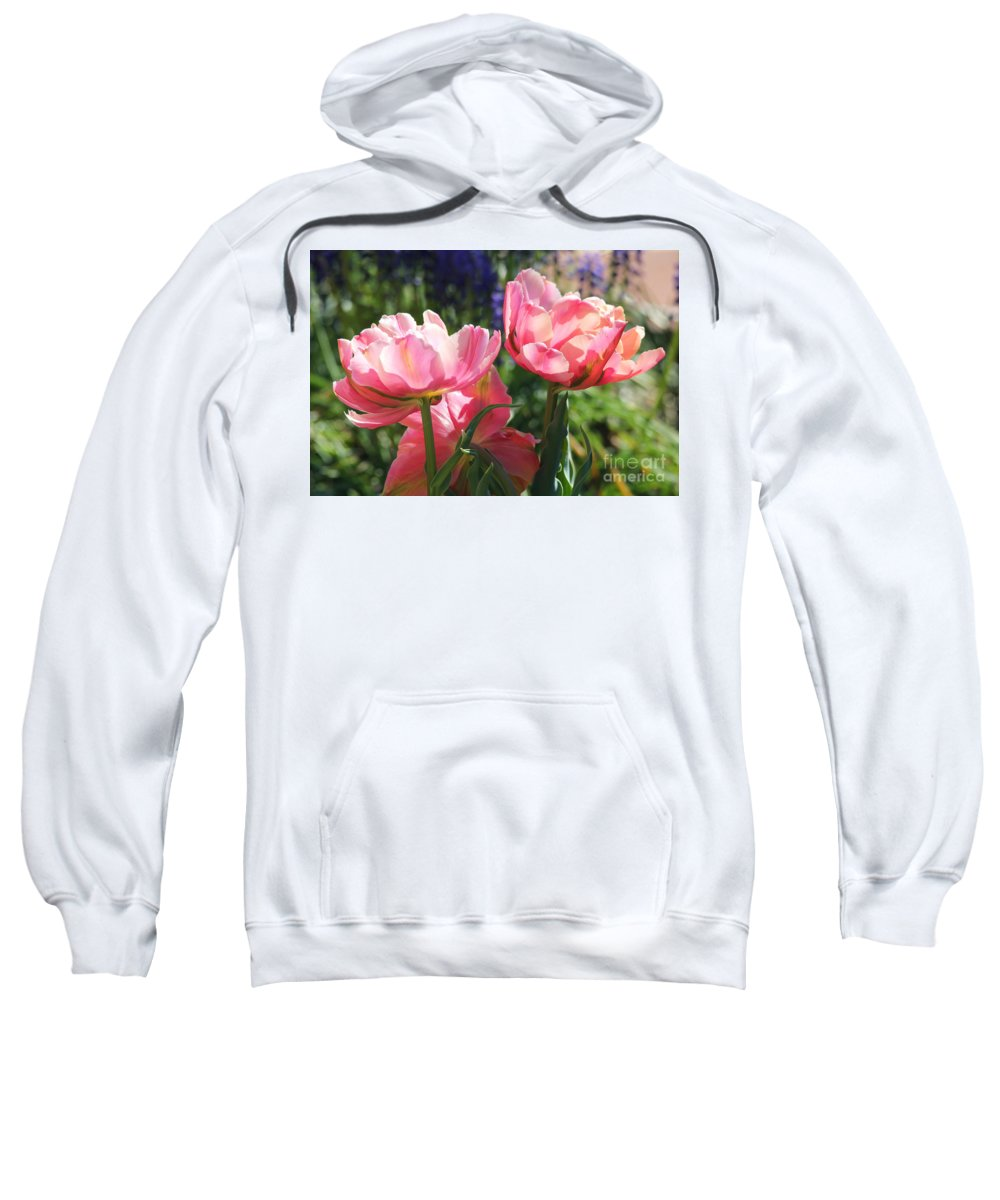 Pink Tulips Sweatshirt featuring the photograph Pink Fluffy Tulips by Trina Ansel
