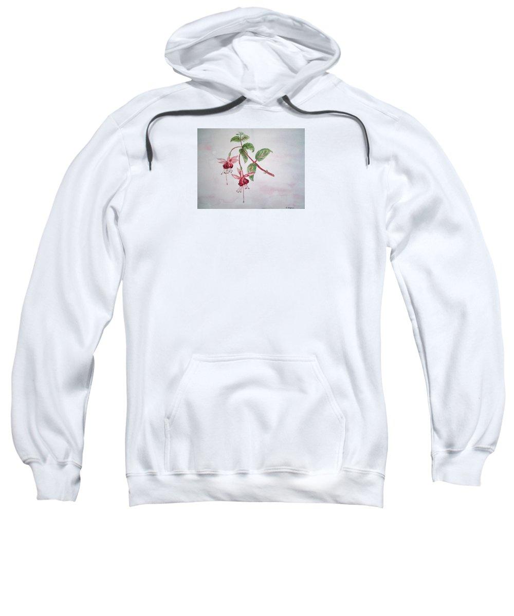 Floral Sweatshirt featuring the painting Pink Fuchsia's by Elvira Ingram