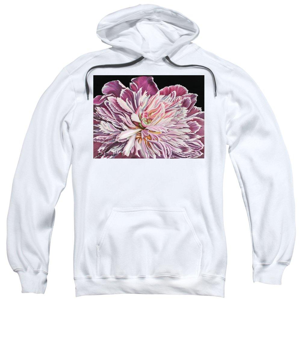 Flower Sweatshirt featuring the painting Pink Peony by Jane Girardot