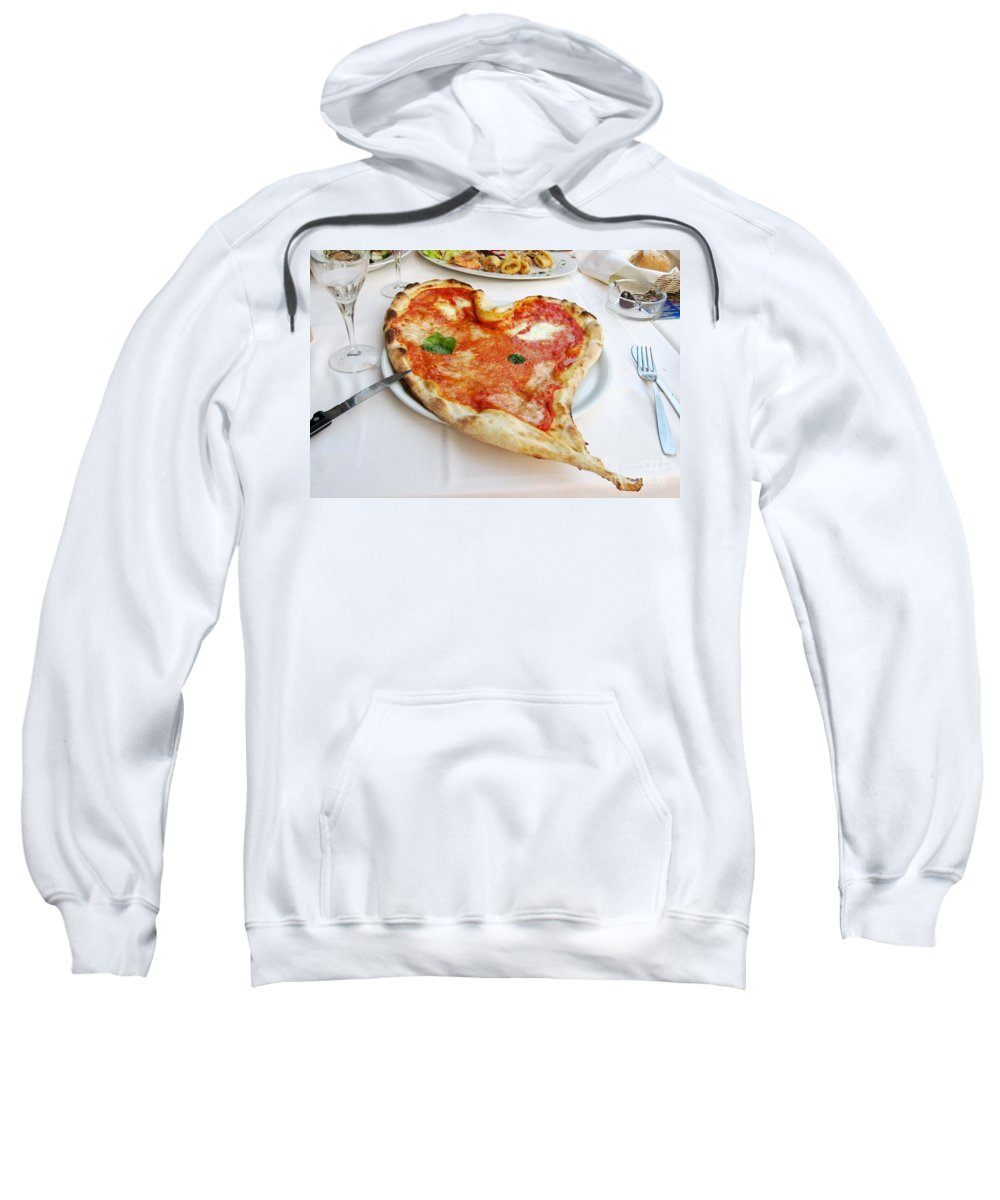 Pizza Sweatshirt featuring the photograph Pizza Amore by Christine Huwer