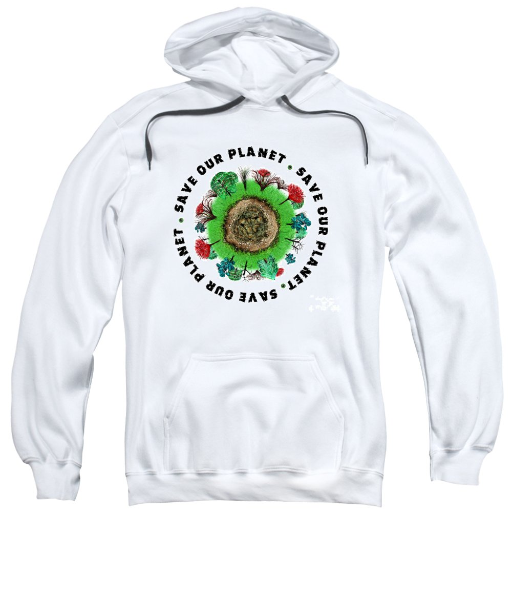 Planet Sweatshirt featuring the painting Planet Earth Icon With Slogan by Simon Bratt Photography LRPS
