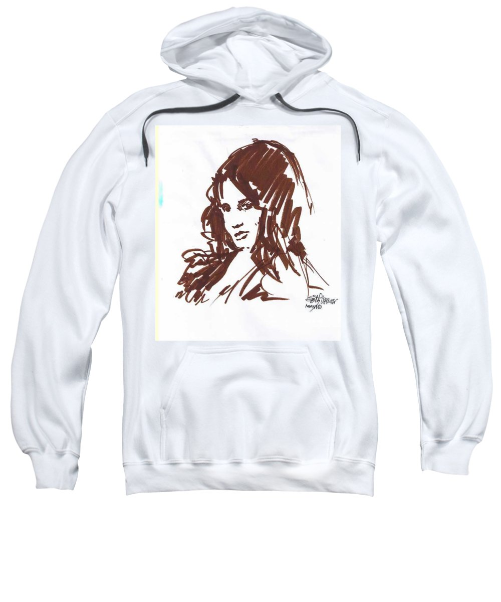 Playful Sweatshirt featuring the drawing Playful by Seth Weaver