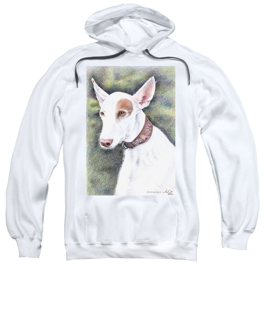 Dog Sweatshirt featuring the drawing Podenco Ibicenco by Nicole Zeug