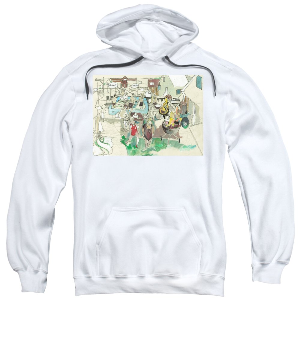 Chicago Sweatshirt featuring the drawing Pool Party At Rockwell by Art Olson