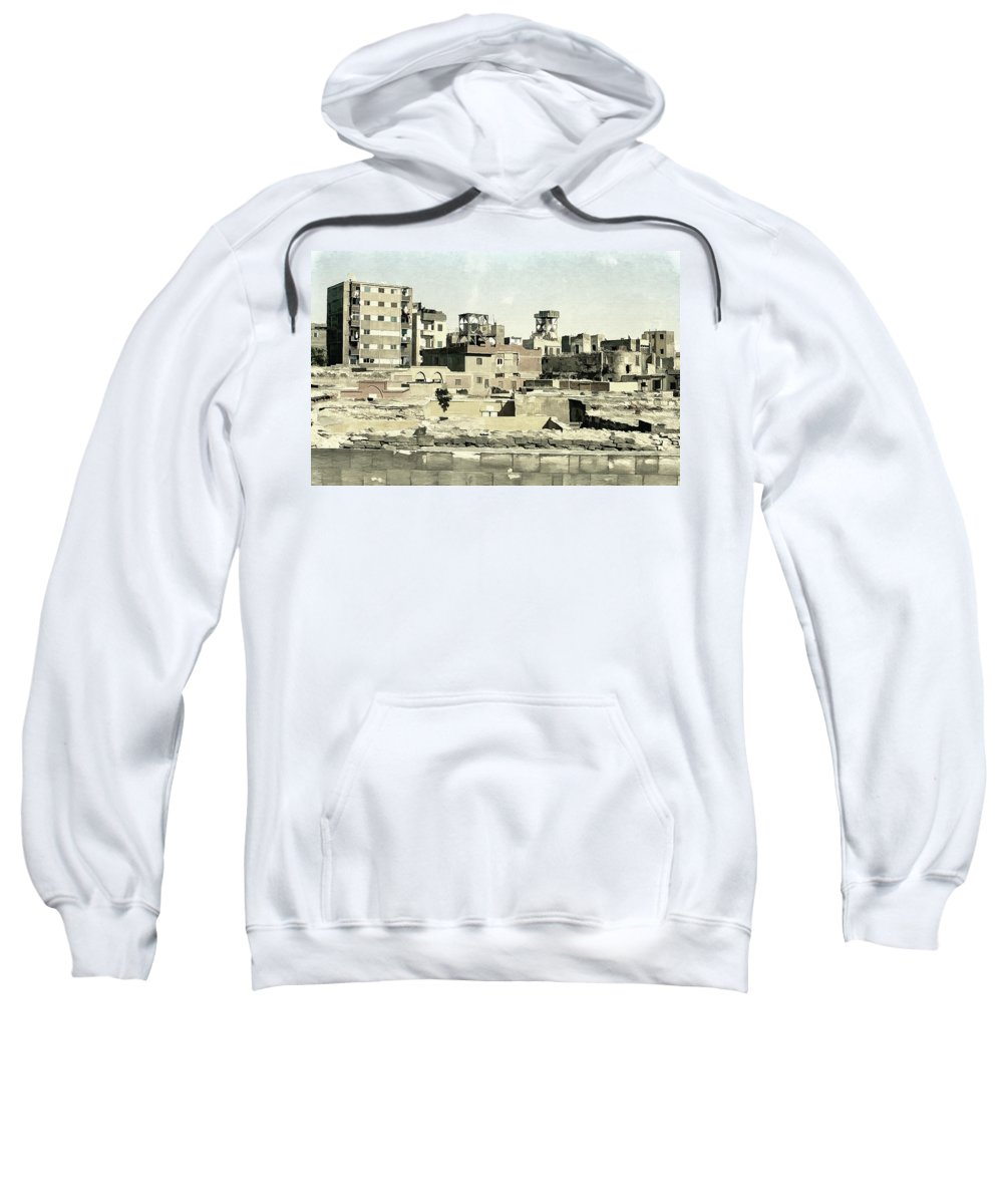 Township Sweatshirt featuring the photograph Poor Suburb Of The City Oil Painting On Burlap by Nenad Cerovic