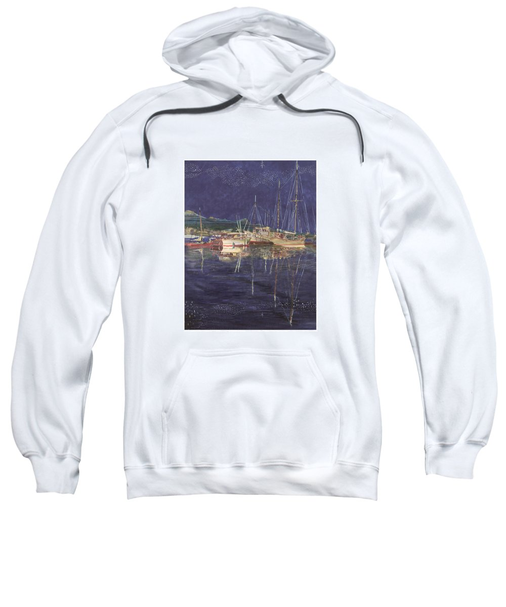 I Just Ordered A Shower Curtain For Myself With This Image On It Sweatshirt featuring the painting Stary Port Orchard Night by Jack Pumphrey
