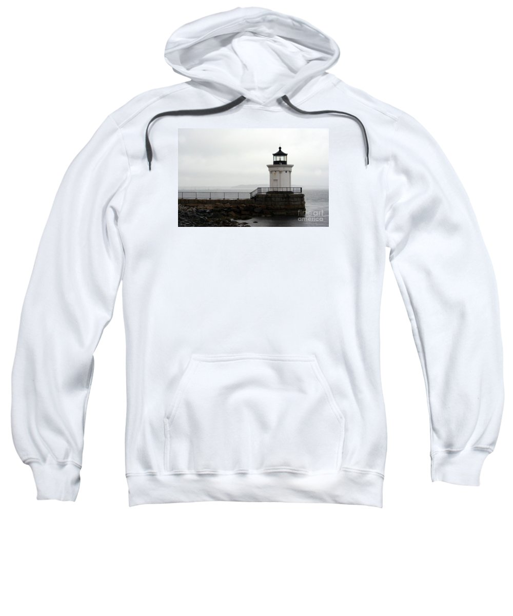 Lighthouse Sweatshirt featuring the photograph Portland Breakwater Light On A Hazy Day - Maine by Christiane Schulze Art And Photography