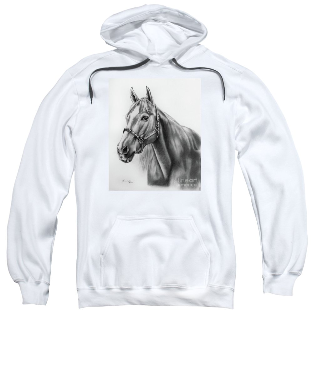 Portrait Sweatshirt featuring the drawing Portrait Of A Horse by Lena Auxier