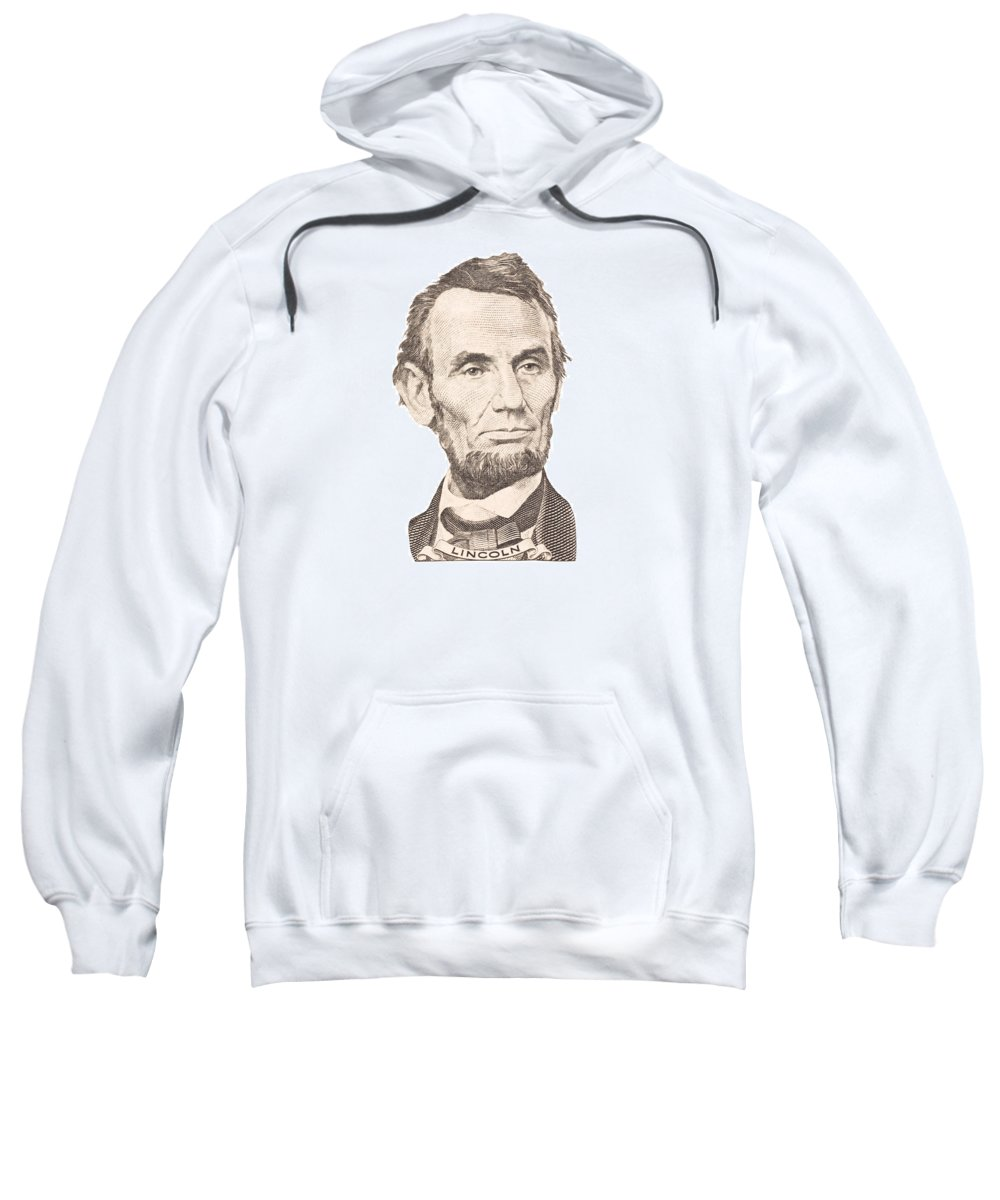 Abraham Lincoln Sweatshirt featuring the photograph Portrait Of Abraham Lincoln On White Background by Keith Webber Jr