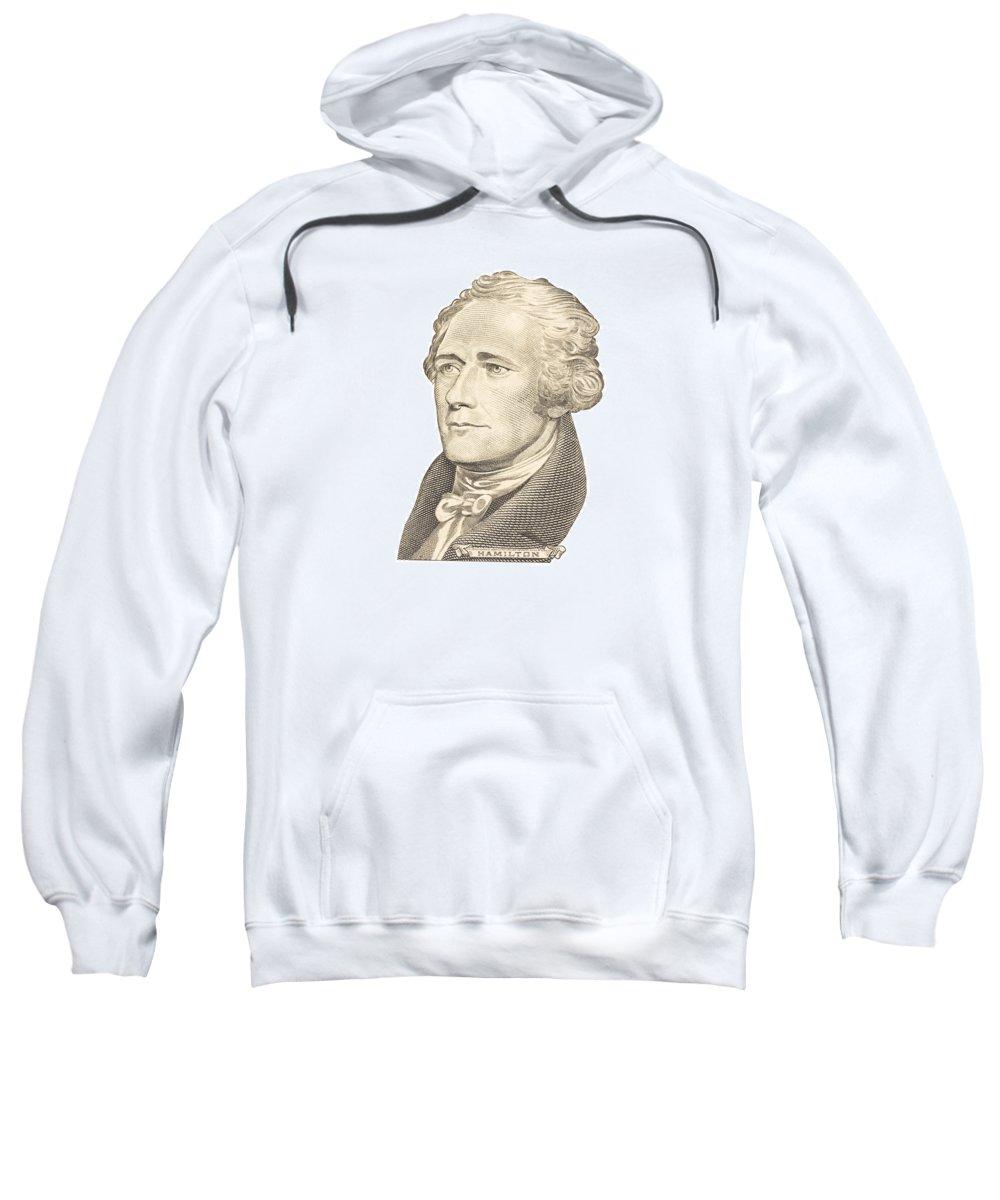Alexander Hamilton Sweatshirt featuring the photograph Portrait Of Alexander Hamilton On White Background by Keith Webber Jr