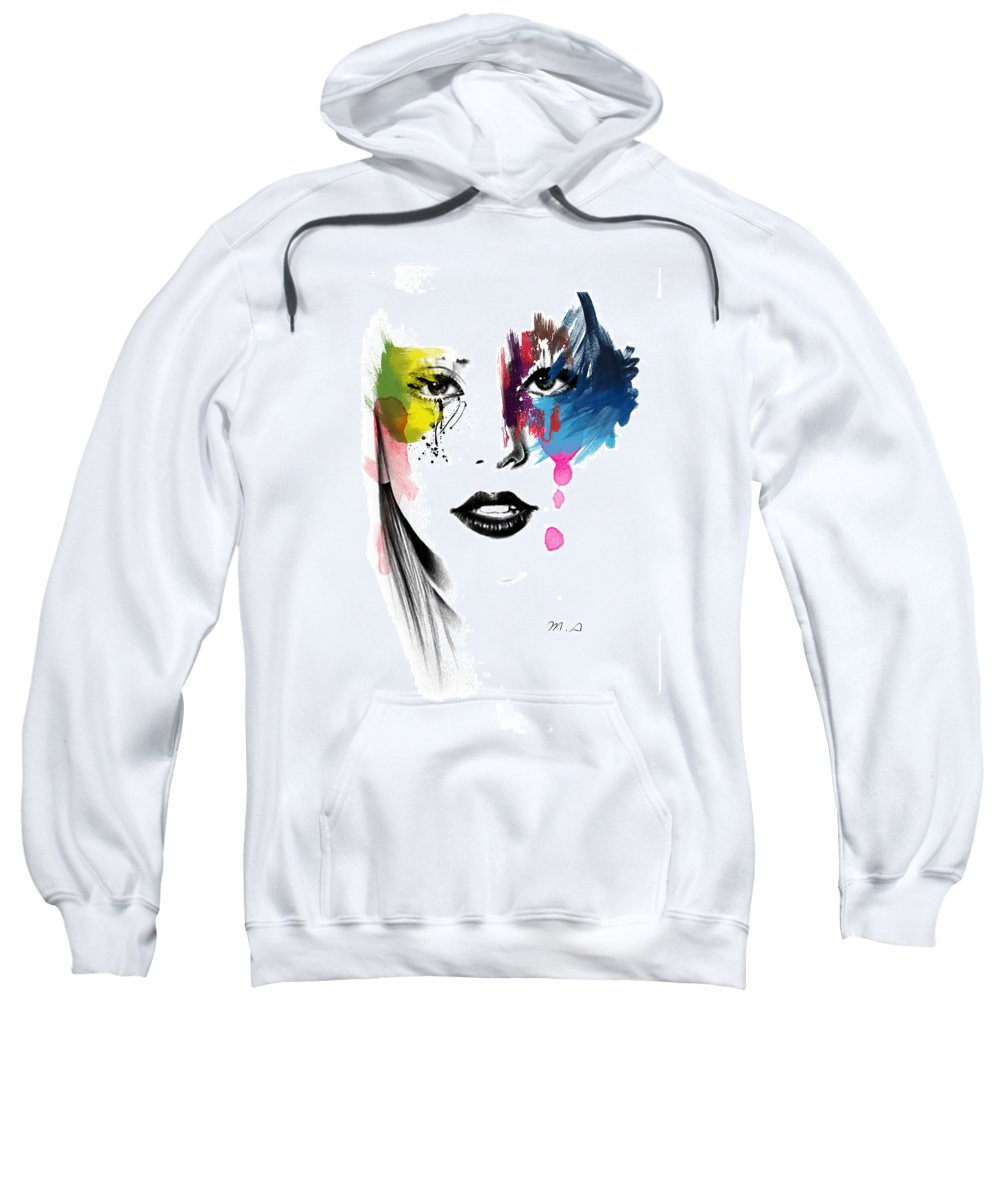 Lady Gaga Sweatshirt featuring the painting Portrait Of Colors  by Mark Ashkenazi