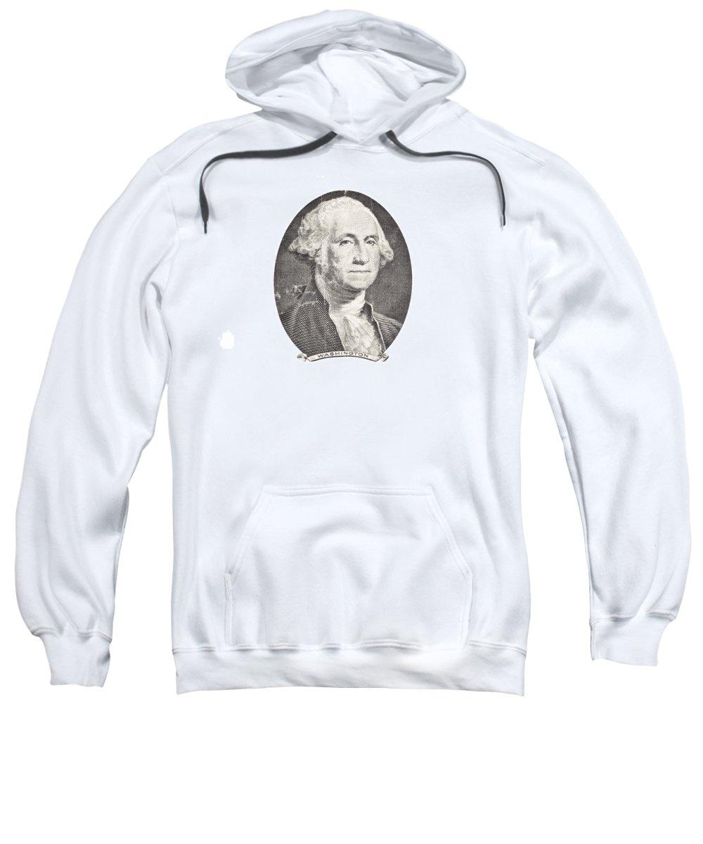 George Washington Sweatshirt featuring the photograph Portrait Of George Washington On White Background by Keith Webber Jr
