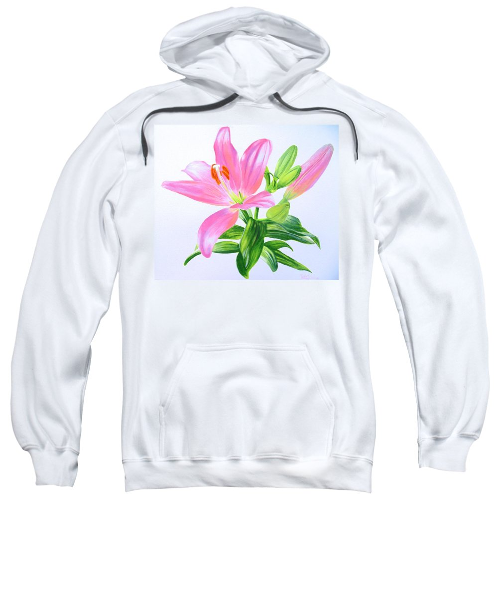 Lily Sweatshirt featuring the painting Pretty In Pink by Pat Gerace