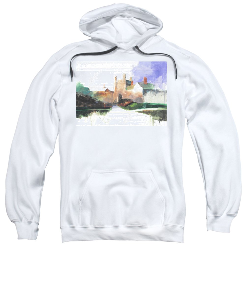 Princeton Sweatshirt featuring the painting Princeton Blair Hall by Stan Fellows
