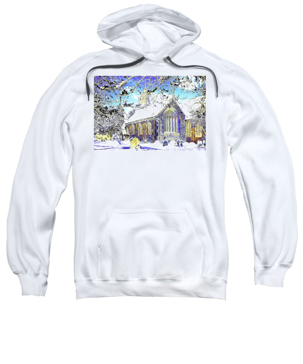 Psychedelic.church Sweatshirt featuring the photograph Psychedelic English Village Church In Winter by Peter Lloyd