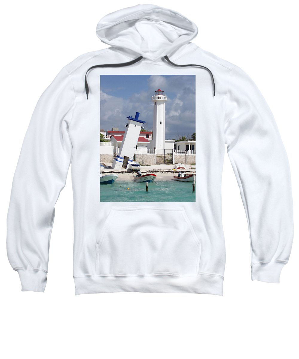 Puerto Morelos Lighthouse Sweatshirt featuring the photograph Puerto Morelos Lighthouse by Ellen Henneke